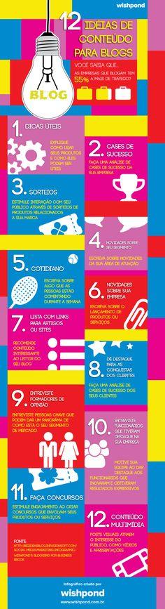 12 ideia para blogs! #infografico #blogs