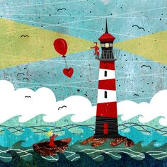 LIghthouse Love +++ illustration by Daniela Faber 2016 +++ heart balloon Leuchtturm island boat couple woman man wife husband girl boy ssea ocean storm seagulls red white blue turquoise yellow