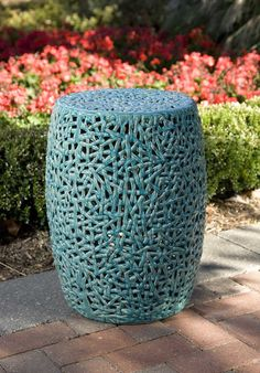 IMAX Tobias Cutwork Garden Stool - The Tobias cutwork garden stool is skillfully handcrafted from ceramic and finished in a turquoise glaze.