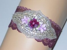 Plus Size Garter in Plum stretch lace with by ArtHouseBridal, $38.00