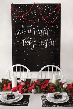 Silent Night Christmas Set from Caravan Shoppe, comes with: posters, placemats, napkin rings, and table coverings!