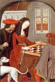 Marguerite de Navarre plays some chess CHeckered lining of the sleeve (?)