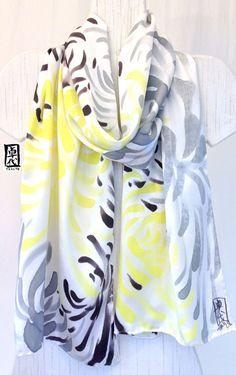 Silk Scarf Hand Painted Large Lemon Yellow por SilkScarvesTakuyo, $120.00