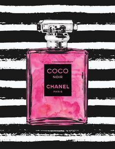 Printed Chanel No5 art 8x10 Bright Pink watercolour by hellomrmoon