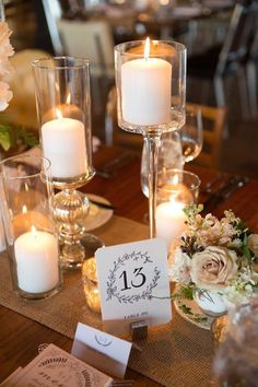 Chic candles wedding centerpiece idea;