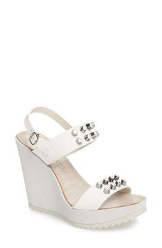Free shipping and returns on Pedro Garcia Variel Stud Platform Wedge Sandal (Women) at Nordstrom.com. Pre-order this style today! Add to Shopping Bag to view approximate ship date. You'll be charged only when your item ships.Silvery flat-head studs gleam confidently from the straps of a towering wedge sandal perched on an articulated rocker platform.