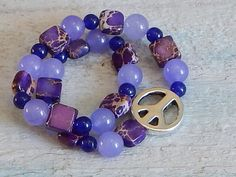 Imperial Jasper Peace Sign Bracelet Purple by SeagrassJewelry