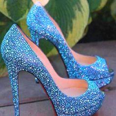 Wedding Heels - Something Blue! I would sooooo end up kicking these off..