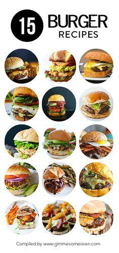 15 Burger Recipes -- a delicious collection of recipes from… Burger Recipes, Grilling Recipes, Beef Recipes, Cooking Recipes, Yummy Burger, Delicious Burgers, Dishes Recipes, Dog Recipes, Big Burgers