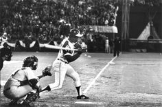 April 8, 1974 - Hank hits No. 715: Atlanta's Henry Aaron begins the swing that broke Babe Ruth's career home run record. (Billy Downs /  AJC File)