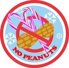 Christmas Candy Cane No Peanuts Labels