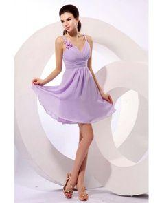 Lavender Chiffon V-neck Short Bridesmaid Dress   LynnBridal.com