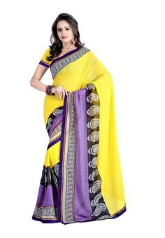 The saree in yellow color is crafted on chiffon material, engrossed with lucrative prints & intricate work. This is Available in Shop2Vizag.
