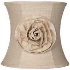 Almond Linen with Flower Drum Shade 11x12x11 (Spider)