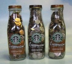9 ounce bottles will hold 47 dimes 13 nickels 4 pennies 13 ounce bottles will hold 78 quarters 80 dimes 20 nickels 675 pennies Ways To Save Money, Money Tips, Money Saving Tips, How To Make Money, Money Hacks, Savings Challenge, Money Saving Challenge, Starbucks Bottles, Starbucks Bottle Crafts