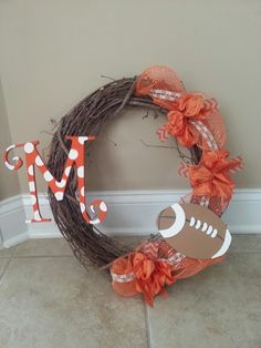 UT vols wreath my aunt and I made today! It's almost football time in Tennessee!!