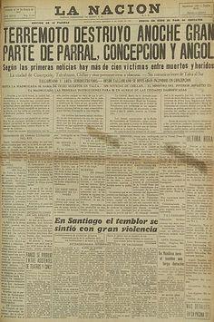 25 de enero de 1939, con el terremoto de Chillán La Nación
