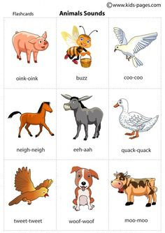 Animal sounds printable flash cards for practicing during a road trip with an 18 month old. toddler travel game.