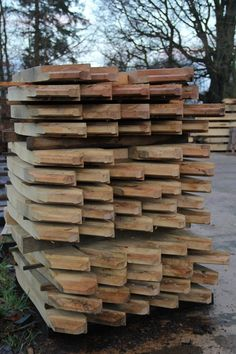 Braces cut and stacked in the yard at Castle Ring #timberframe Oak frame house