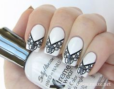 black and white lace nail art