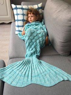 Knitted Mermaid Blanket For Kids - Azure. Shop afflink.