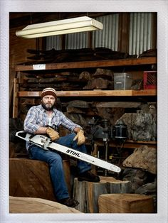 Nick Offerman - Play Ron Swanson on Parks & Recreation (hilarious show) - Aramis, a blade! (photo by Emily Shur) The cool thing is that he really works with wood, not just on the show.