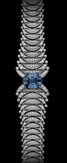 Cartier Precious Lines and Architectures – High Jewelry Bracelet Platinum, one 26.98-carat cushion-shaped sapphire, brilliants.