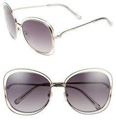 Chloé 'Carlina' 60mm Oversize Sunglasses