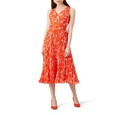 Hobbs Orange floral print 'Lilah' midi tea dress | Debenhams