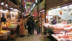Nishiki Market (錦市場, Nishiki Ichiba) is a narrow, five block long shopping street lined by more than one hundred shops and restaurants.