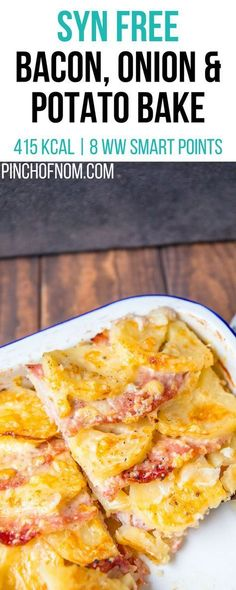 Syn Free Bacon, Onion and Potato Bake   Pinch Of Nom Slimming World Recipes 415 kcal   Syn Free   8 Weight Watchers Smart Points