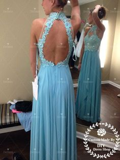 High Neck Halter Prom Dress,Sexy Prom Dress,Open Back Prom Dress,Chiffon Prom Formal Dress,Lace Bodice Prom Gown,Long Bridesmaid Dress on Etsy, 104,00 €