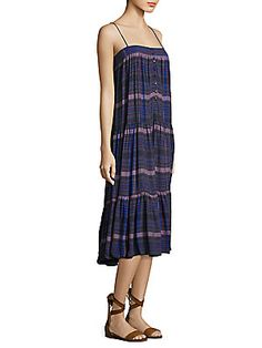 $225 - Apiece Apart Tangiers Tiered Plaid Midi Dress