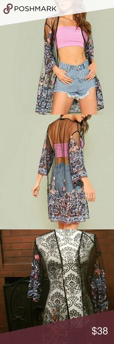 Beautiful Embroidered Sheer Kimono Brand new without tags!  Size medium however can fit small through large in my opinion.  Stunning multicolored embroidery!  Offers welcome! Tops Camisoles