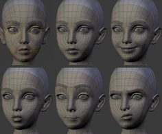 This wireframe shows several different expressions. I think this makes it a good example to use as reference. 3d Model Character, Character Modeling, Character Art, Character Design, Character Concept, Zbrush, Wireframe, 3d Modellierung, Face Topology