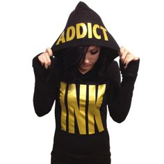 Women's Gold Big INK Thermal Hoodie by Ink Addict