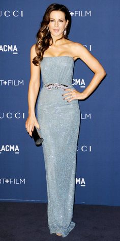 Also at the LACMA Art + Film Gala, Beckinsale shimmered in a sky-blue all-over embellished strapless Gucci gown with a decorative waist, add...