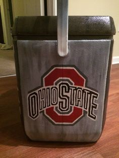 Fraternity painted cooler Ohio state- name in the ohio state part Fraternity Coolers, Frat Coolers, Decor Crafts, Home Crafts, Diy Crafts, Painting Metal Cabinets, Formal Cooler Ideas, Cooler Designs, Cooler Painting