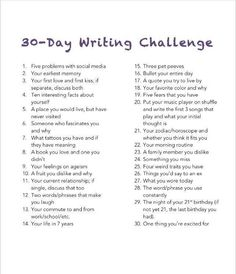 30 Day Writing Challenge: Unedited, free-flowing thoughts on the daily topic.