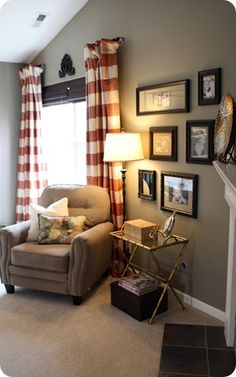 Thrifty Decor Chick: Show Us Your Bedrooms!- frame collection in bedroom by bookshelf Melissa Brown Kaiser Curtains With Blinds, Striped Curtains, Check Curtains, Hang Curtains, Shower Curtains, Living Room Decor, Living Spaces, Master Bedroom Redo, Bedroom Frames