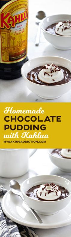 Homemade Chocolate Pudding with Kahlua - so easy and so delicious!