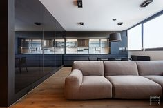Contemporary apartment located in Kiev, Ukraine, designed by Sirotov Architects. Contemporary Apartment, Contemporary Interior Design, Modern Design, Interior Modern, Zeitgenössisches Apartment, Apartment Interior, Manly Living Room, Dining Table Chairs, Dining Room