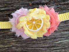 Lemonade stand headband, Pink and Peach Flowers, Yellow Chevron, Summertime on Etsy, $16.00