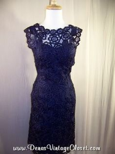 Vintage Blue Gown   50s Vintage Anna Giovannozzi Navy Blue Woven Italian Cocktail Dress sz ...