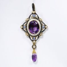 Amethyst Pendant with Enameled Gold and Pearl Elements ... c.1880, Pasquale Novissimo (1844–1914)