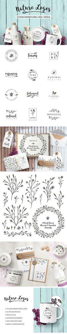Nature & floral logos + BONUS by AgataCreate on @creativemarket