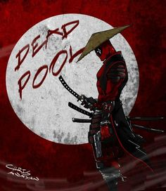Samurai Deadpool artwork by Chris Awayan Comic Book Characters, Comic Book Heroes, Marvel Characters, Comic Character, Comic Books, Marvel Vs, Marvel Dc Comics, Marvel Heroes, Deadpool Wallpaper