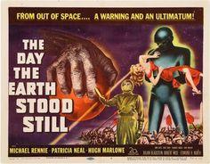 "The Day the Earth Stood Still  (1951):  Michael Rennie Patricia Neal Hugh Marlowe.  Cold war alien invasion warning.  Michael Rennie was ill The Day The Earth Stood Still, but he told us where we stand.  ""Gort!  Klaatu barada nikto!"""