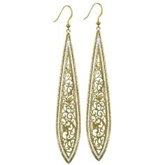 India Filigree Teardrop Gold Tone Drop Pierced Earrings ($28) ❤ liked on Polyvore featuring jewelry, earrings, tear drop earrings, filigree jewelry, gold tone earrings, filigree earrings and gold colored earrings