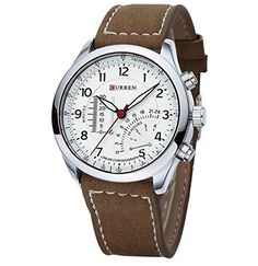 YARBAR Fashion Mens Leather Band Stainless Steel Sport Military Quartz Wrist Watch -- Details can be found by clicking on the image.